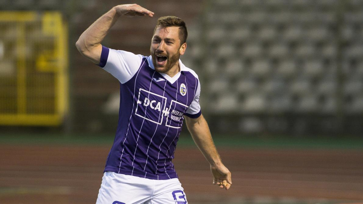 Beerschot's Guillaume Francois celebrates after scoring during a soccer game between Union Saint-Gilloise and Beerschot-Wilrijk, in Brussels, Sunday 05 November 2017, on day 14 of the division 1B Proximus League competition of the Belgian championship. BELGA PHOTO LAURIE DIEFFEMBACQ