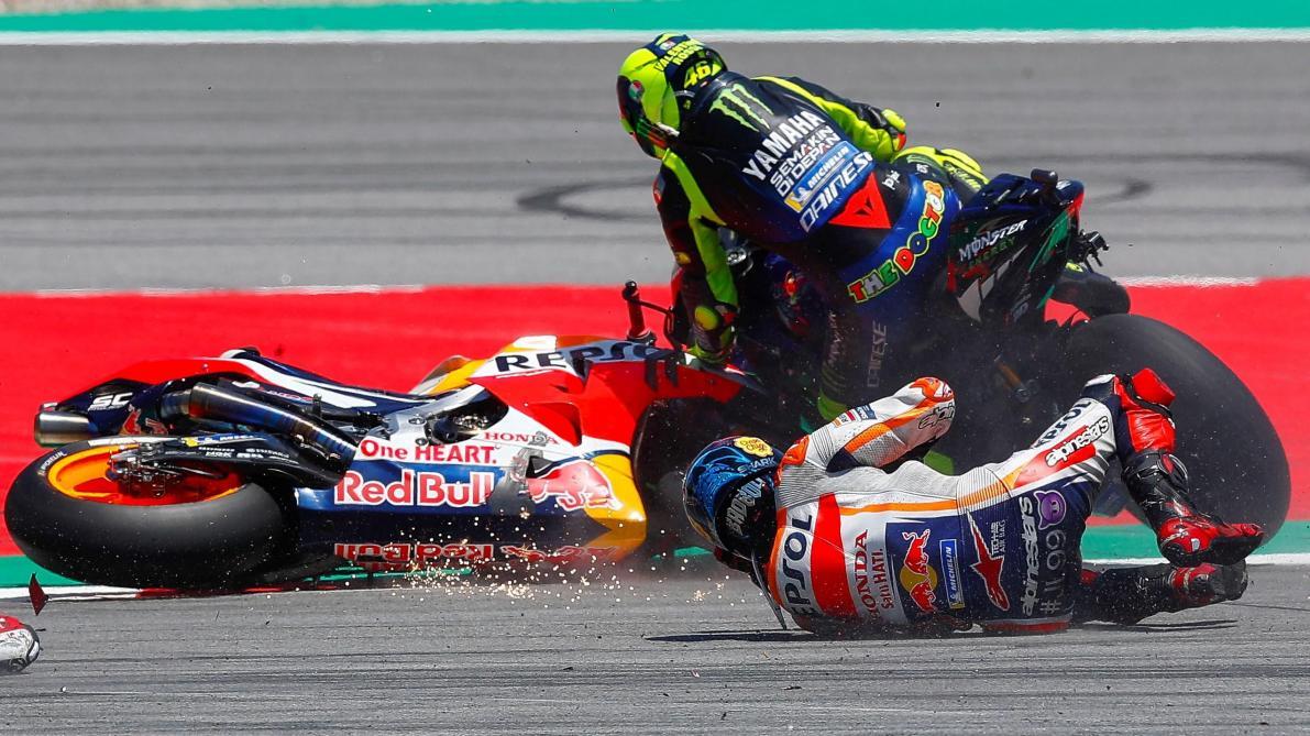 Gros crash en MotoGP: Lorenzo fait chuter Dovizioso, Rossi et Vinales (vidéo)