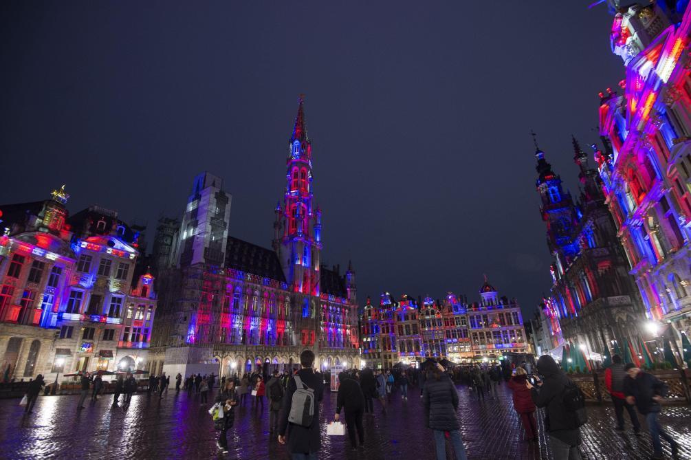 Brexit J-1 la Grand Place de Bruxelles aux couleurs britanniques