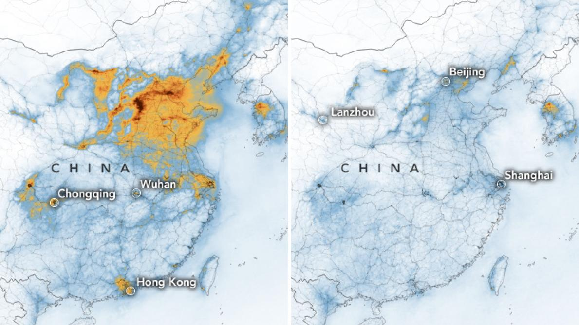 Coronavirus: des images de la NASA montrent la chute «spectaculaire» de la pollution en Chine