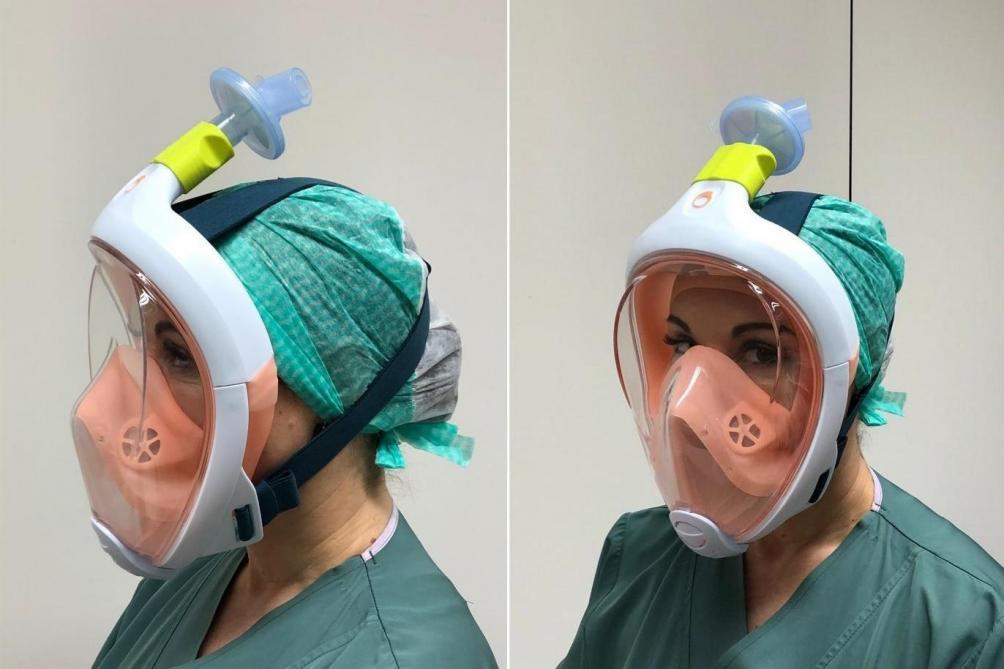 Coronavirus: le masque de plongée Décathlon transformé en masque de protection par la VUB