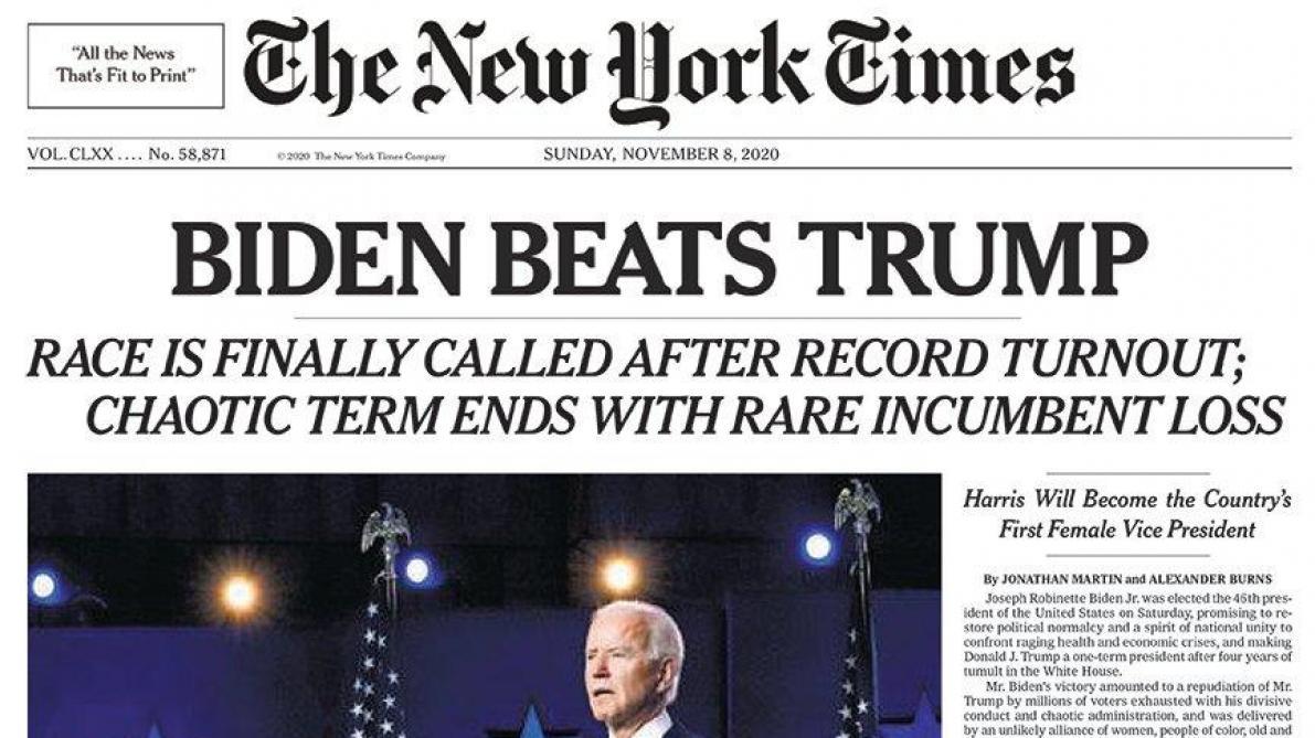 «Biden bat Trump»: la Une historique du New York Times