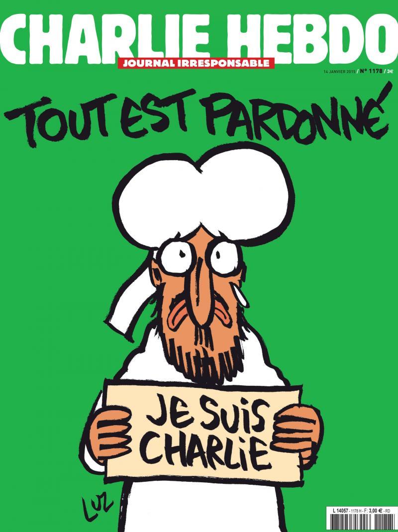 Image result for ccouverture Charlie hebdo Tout est pardonné
