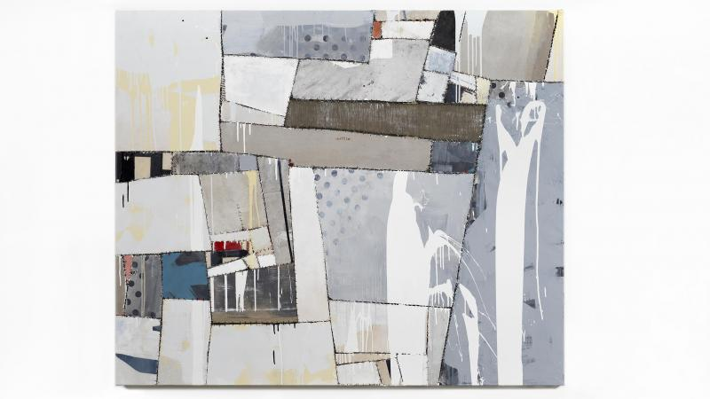 Sally Ross. « Sugar Mountain », 2019. Gesso, enamel, flashe, and acrylic on canvas, linen, and printed fabric, with polyester thread. 160 × 190,5 cm. Courtesy de l'artiste et Rodolphe Janssen, Bruxelles.