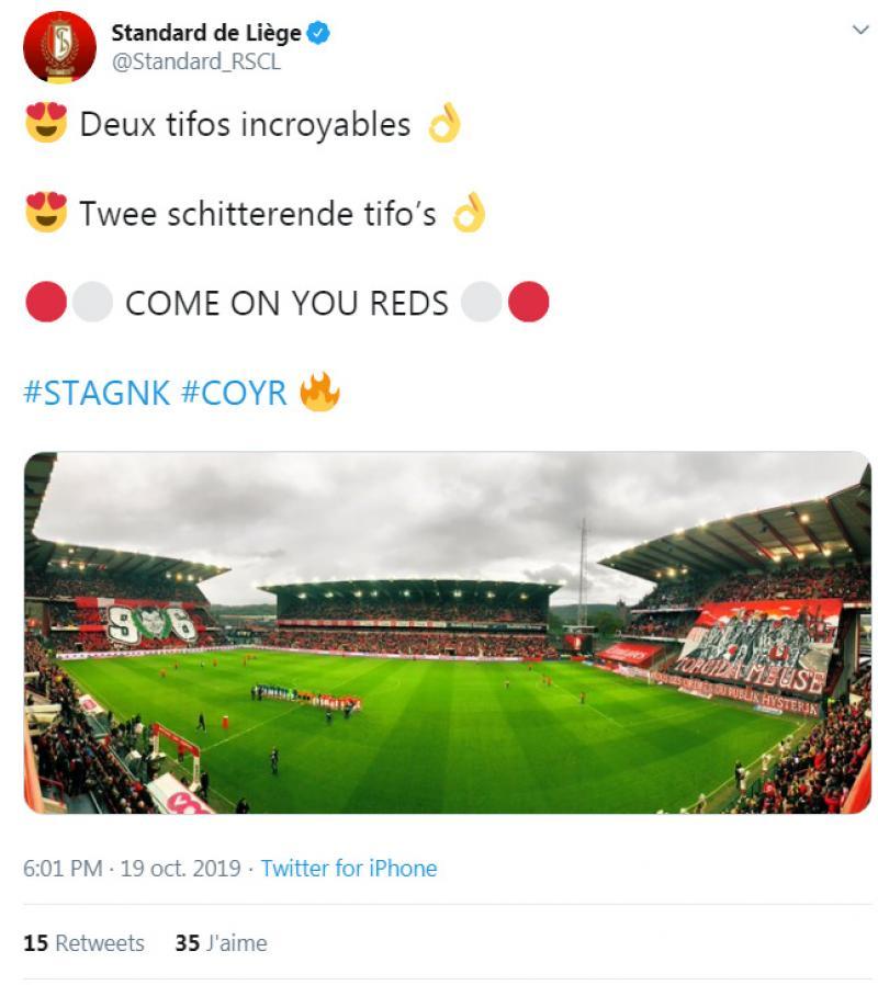 Les supporters du Standard déploient deux superbes tifos avant le duel face à Genk (photo)