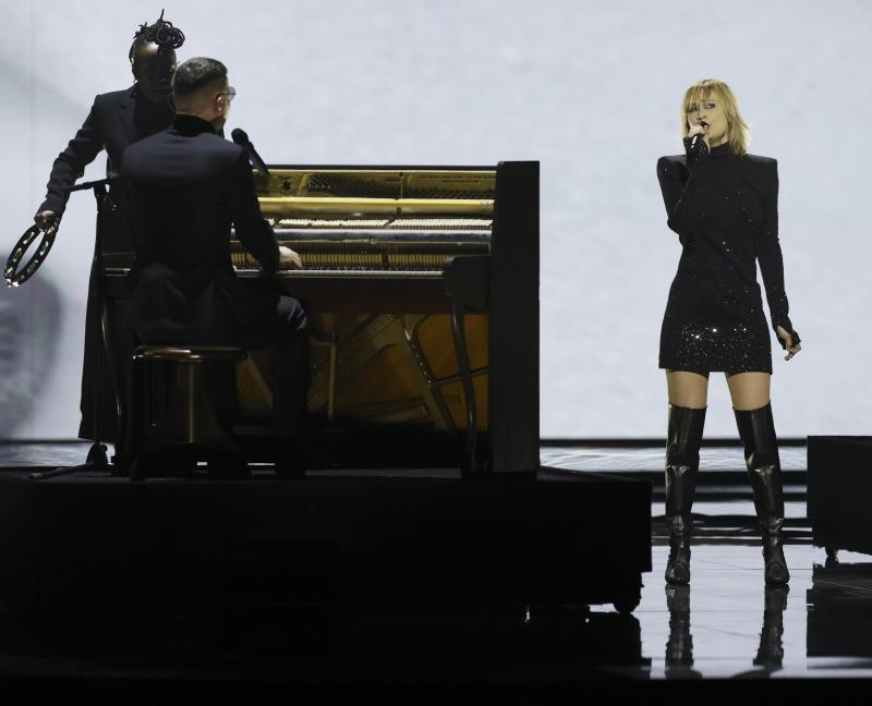 The performance of Hooverphonic in the final of the Eurovision Song Contest in pictures.  - EPA.